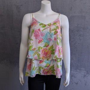 ☀️Newbury Kustom pink green floral layer tank top